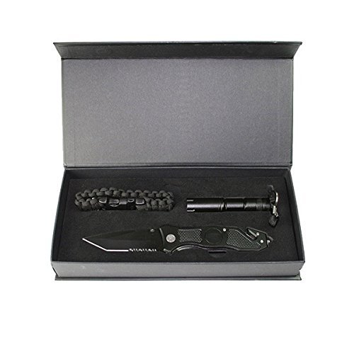 G8DS® Zombie Dead Messerset Einhandmesserin Stiletto Optik + Fahrtenmesser + Paracordarmband