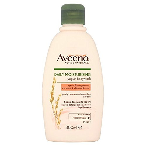 Aveeno Daily Moisturising Yogurt Body Wash, 300 ml, Apricot and Honey Scented