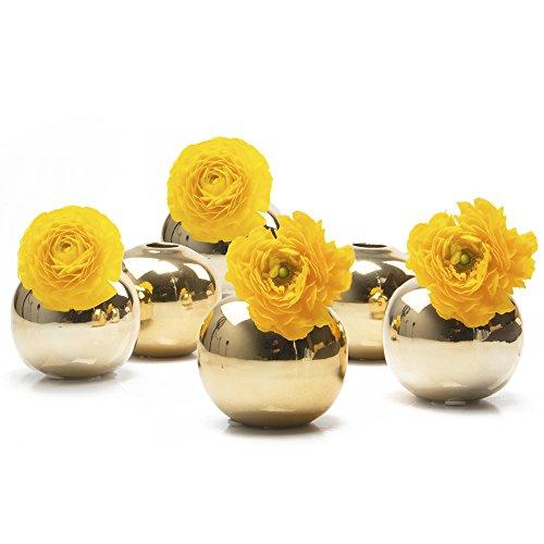 Chive-Jojo kleine Keramikblumenvasen, ca. 7,6cm, moderne Dekoration für ihr Zuhause, für Wohnzimmer und Veranstaltungen, Packung mit 6Stück, keramik, gold, Sphere