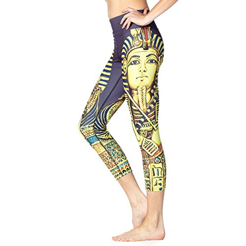 Digital Beautiful Ladies Printing Yoga Capri Leggings Active Workout Elastic Tights-Slim Fitted cleopatra S (Cleopatra Outfits)