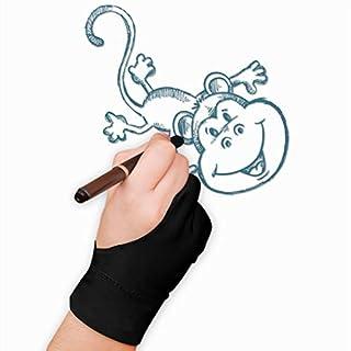 Afinder 2 Stücke Antifouling Handschuhe Zwei Finger Künstler Handschuhe Verdickte Tablet Zeichnen Malen Handschuh für Grafiktablett Graphics Tablet Pen-Monitor Drawing Tablet