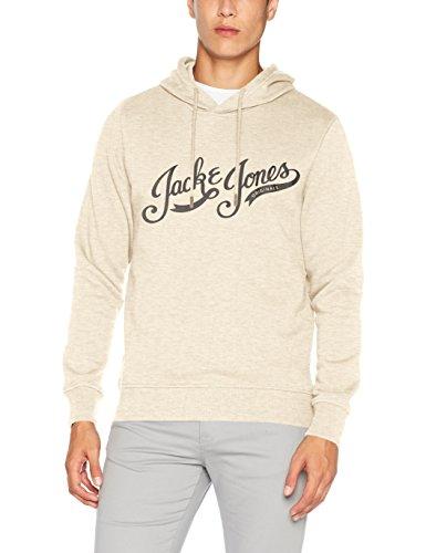 JACK & JONES Herren Kapuzenpullover Jorpaddy Sweat Hood Grau (Treated White Fit:Reg)