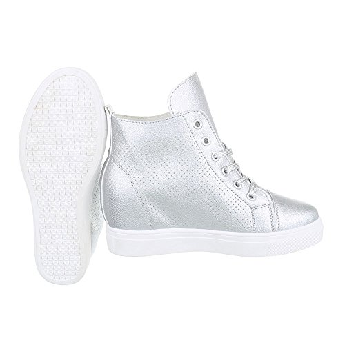 Ital-Design Sneakers High Damenschuhe Sneakers High Keilabsatz/Wedge Keilabsatz Reißverschluss Freizeitschuhe Silber