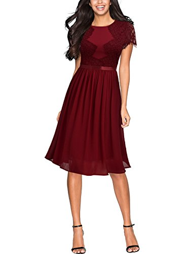 Miusol Abendkleid Sommer Chiffon festlich Kleid Cocktailkleid Vinatge kleider Rot