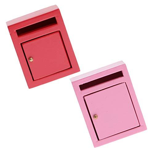 B Blesiya 2 Stücke Miniatur Holz Mailbox Briefkasten Postfach für 1:12 Puppenhaus Garten Deko Zubehör