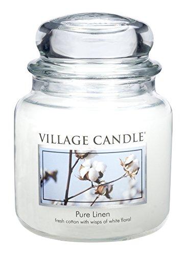Leinen Duftkerze (Village Candle Reines Leinen Duftkerze im Glas, 454 g, weiß, 10.2 x 10.1 cm)