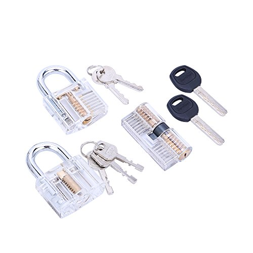 46ee687fab41 Lockmall 3-Piece Practice Lock Set, Transparent Training Cutaway Crystal  Pin Tumbler Keyed Padlock, Clear Padlock, and AB Kaba Cylinder Lock (3 Pack)
