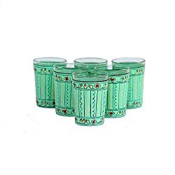 eCraftIndia Set of 6 Handpainted Decorative Glass Set - 111 Light Green Color