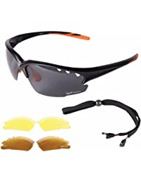Rapid Eyewear 'Fusion' Black UV POLARISED SPORTS SUNGLASSES for Men & Women, With Interchangeable Vented Anti Glare Lenses. Ideal Glasses for Cricket, Golf, Sailing, Tennis, Driving etc