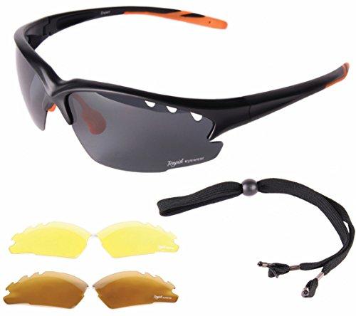 48c521a361 Rapid Eyewear 'Fusion' GAFAS DE SOL DEPORTIVAS NEGRAS para hombres y  mujeres. Lentes
