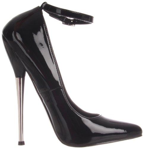 Devious DAGGER-12 Damen Extrem High Heels Blk Pat
