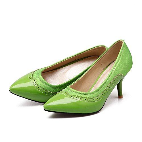 VogueZone009 Donna Tirare Tacco A Spillo Colore Assortito Punta Chiusa Scarpe A Punta Ballerine Verde