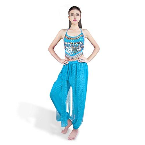 SymbolLife Bauchtanz kostüm damen indischen Tanzkleidung Tanzkostüme belly Dance Halloween Karneval Kostüme Darbietungen Kleidung Hell Blau