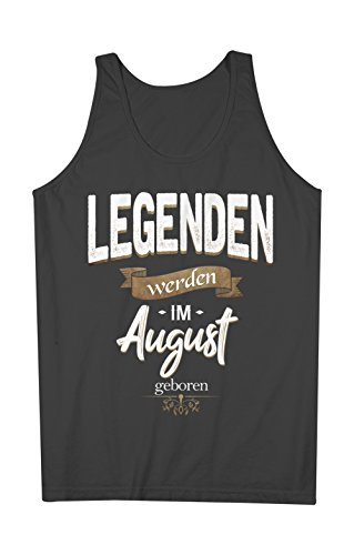 Legenden Werden Im August Geboren Geburtstag Geschenk Herren Tank Top Ärmellos Muskelshirt Schwarz X-Large (Legende Ärmellos)