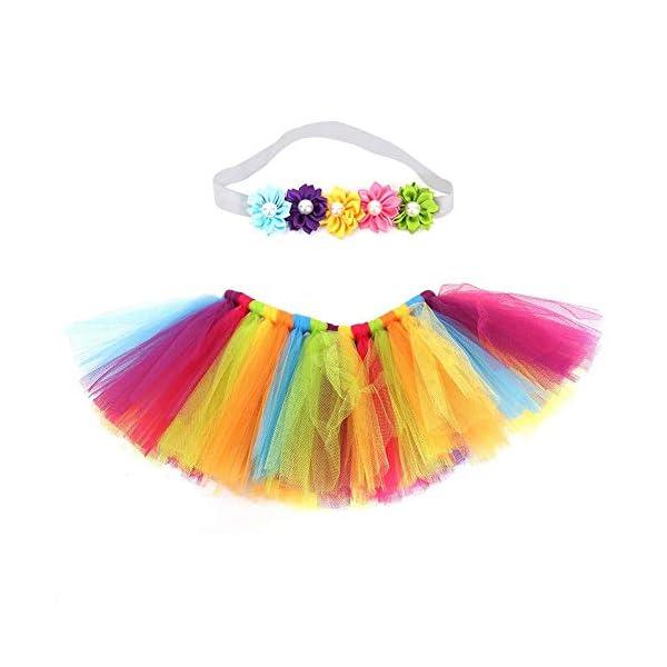 Tutu arcoiris bebé, Infant Pettiskirt Tutu Rainbow Bubble Falda con diadema para 0-6 mes Bebé recién nacido accesorios… 1