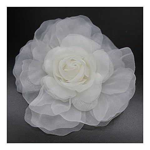Broche fleur en tissu organza, couleur ivoire .