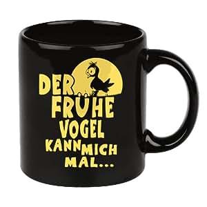 Mug Humour avec Slogan DER FRÜHE VOGEL Tasse de Café Noir