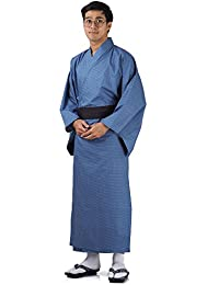 Japanischer Herren Yukata Kimono Baumwolle One Size M L XL Blau