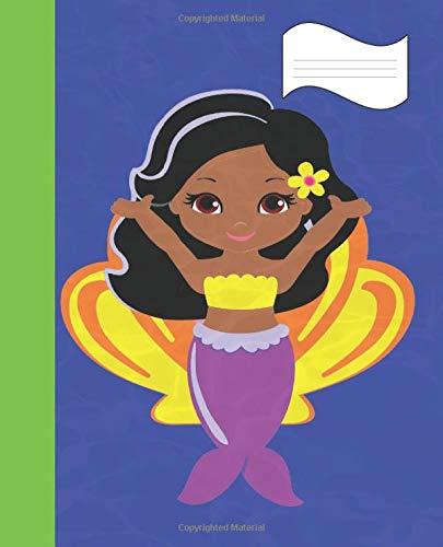 Purple Blue Green & Yellow Black Haired Brown Eyed Mermaid Cute Girl's Writing Journal Modern Fantasy lovers Book: Back To School Blank Composition ... Fun Mermaid School Supplies, Band 3)