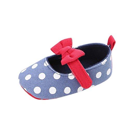Auxma Baby Prewalker Schuhe,Baby Bowknot Segeltuch Schuhe,Sneaker Anti-Rutsch-Soft Sole Kleinkind Schuhe für 0-6 6-12 12-18 Monat (6-12 M, Blau)