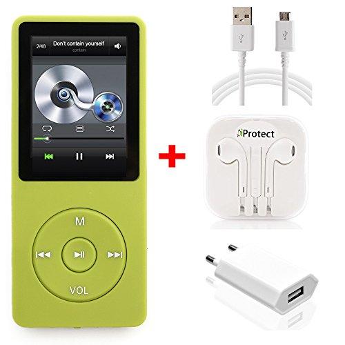iProtect 16GB MP3-Player Set In-Ear Kopfhörer 70 Stunden Audiowiedergabe Musik-/Video Player Speicher bis zu 64GB erweiterbar mit Radio-Funktion und 16GB Micro SD-Karte in grün