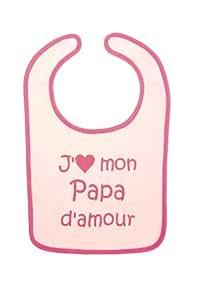 "Bulle de BB - Bavoir ""J'aime mon papa d'amour"" rose/fushia"