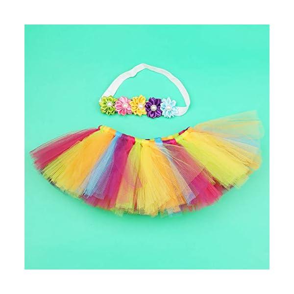 Tutu arcoiris bebé, Infant Pettiskirt Tutu Rainbow Bubble Falda con diadema para 0-6 mes Bebé recién nacido accesorios… 3