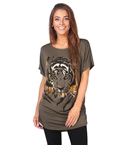 08 Shirt (2093-KHA-08: Oversize Shirt mit Tigermotiv (Khaki, Gr.36))