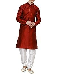 Royal Kurta Men's Cotton Silk Contrast Piping Kurta Churidar