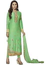 VARAYU Women's Green Cotton Satin Partywear Semistitched Straight Suit(601DJ9014,Green)