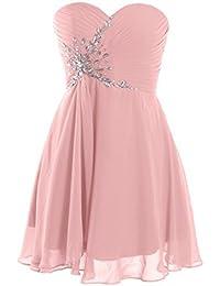 Fashion Plaza Glamouröse Pompöse Herz-Ausschnitt Schnürung Mini Abendkleider Ballkleider mit Straßstein und Rüschen D0371