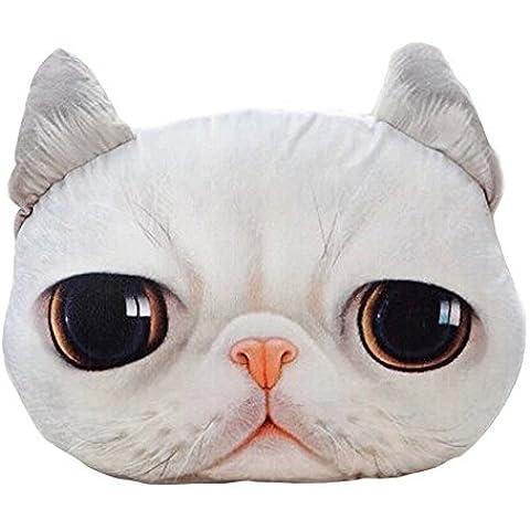 DIS Meow Star a forma di testa di gatto, morbido cuscino peluche divano Cuscino per sedia, colore: bianco