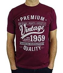 Idea Regalo - 1959 Vintage Year - Aged To Perfection - Regalo di Compleanno Per 60 Anni Maglietta da Uomo Bordeaux M