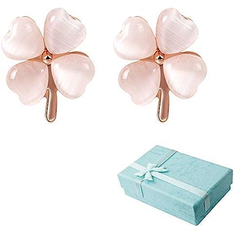 Acxico oro metallo con opali a forma di cuore, farfalla e fiori da 4 fogli con decorazione a