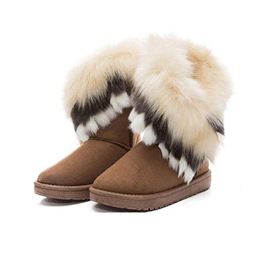 Amlaiworld Damen Stiefel, Frauen Haus Schnee Bootvinculum Weiblich Warme Schuhe Knöchel Schnürschuh Snow Boots Fell Stiefel Winter Warme Schneeschuhe (38, Gelb) (Boot Mokassins Frauen)