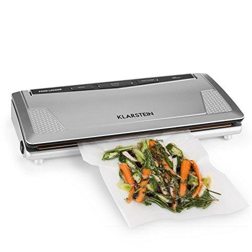 Klarstein FoodLocker Slim Appareil de mise sous vide par thermo soudure (largeur de 30cm, pression -0,75bar, vitesse 9L/min, puissance 130 W, 10 sachets inclus) - argent