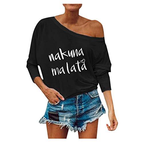 piabigka - t shirt Donna Divertenti Scritte,Donna Camicetta Estivo Camicia Casuale T-Shirt Basic in Cotone Senza Spalline Stampate Maglietta Top Estate