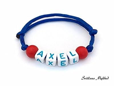 Bracelet personnalisable avec prénom AXEL (réversible) pour adulte, enfant. Création sur mesure! Bijoux avec lettres alphabet A - Z (couleurs aux choix)