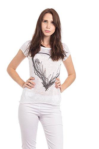 Abbino 16T57 Basics Basiques Tops T-shirts Femmes - Fabriqué en Italie - 6 Couleurs - Transition Printemps Été Automne Plaine Elegant Classique Vintage Casual Sexy Manches Courtes - Taille Unique Blanc (Art. 16T57-3)