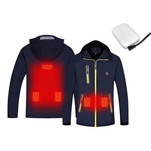 J-jinpei giacche termiche per uomo e donna giacche + potere mobile usb ricaricabile impermeabile antigraffio impermeabile antivento sport all'aria aperta alpinismo cappotto freddo blu navy l