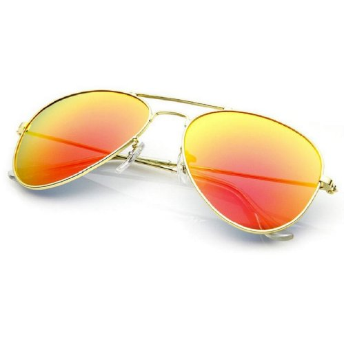 Unisex 4sold Sonnenbrille Fliegerbrille Pornobrille in vielen Farbkombinationen Klassische Pilotenbrille Unisex Sonnenbrille (gold orange)
