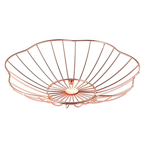SURLBC Metal Mesh Kreative Aufsatz- Fruit Basket Bowl Ständer for Küche, Restaurant, dekorative Tischhalter Fruit Basket Bowl Art und Weise Keksdose (Color : A Rose Gold) -