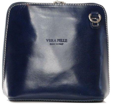 - 4103fw4cWKL - Vera Pelle Genuine Italian Leather Womens Cross Body Bag, Blue, small mini