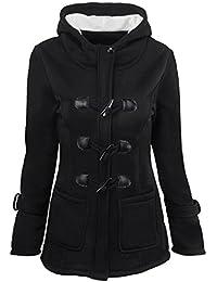 Chaqueta de Mujer YOGLY Abrigo con Capucha de Invierno para Mujer, con Botones de Cuerno Abrigo de Manga Larga Talla Grande Outwear