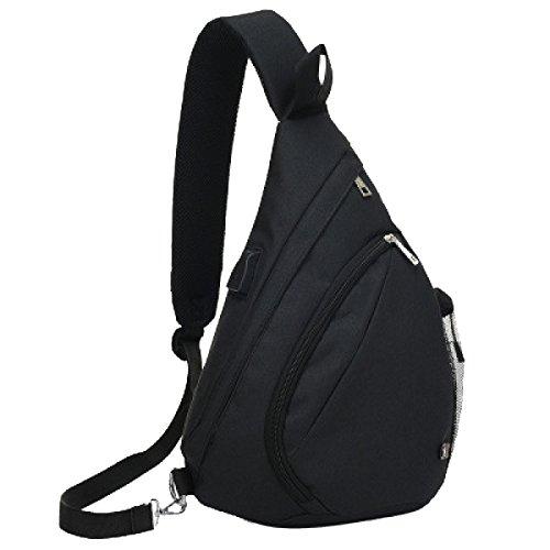 Bag USB Ricaricabile Yy.f Petto Il Sacchetto Del Messaggero Degli Uomini Il Sacchetto Di Spalla Di Ricreazione Di Sport Sacchetto Solido Tre Colori Black