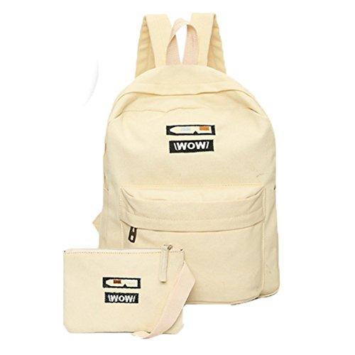 Ohmais 2PCS Rücksack Rucksäcke Rucksack Backpack Daypack Schulranzen Schulrucksack Wanderrucksack Schultasche Rucksack für Schülerin abricot