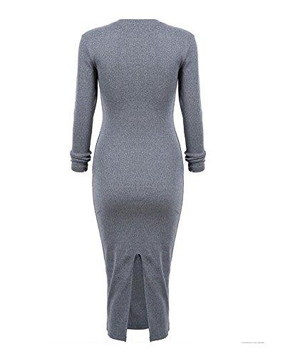 SaiDeng Femmes Longue Scoop Cou Ourlet Divisé Midi Robe Sombre Gris
