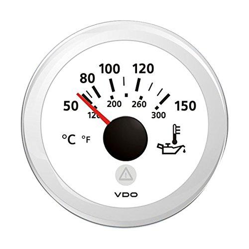 VDO ViewLine Öltemperaturanzeiger Ø 52 mm 50°C - 150°C, Farbe:weiß