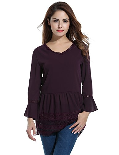 ACEVOG Damen Sommer Bluse Chiffon mit Spitze V-Ausschnitt Langarmshirts Casual Top T-Shirt Spitzenbluse (EU 36(Herstellergröße:M), Dunkel Rot) -
