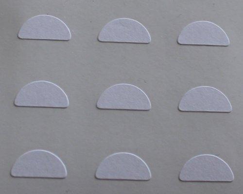 150 Etiquetas, 10x5mm Half Moon Forma, Blanco, pegatinas autoadhesivas, Minilabel Formas